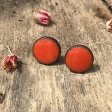 Load image into Gallery viewer, Black Clay Color Splash Ceramic Earrings - Reddish-Orange - Rustic Ceramic Stud Earrings
