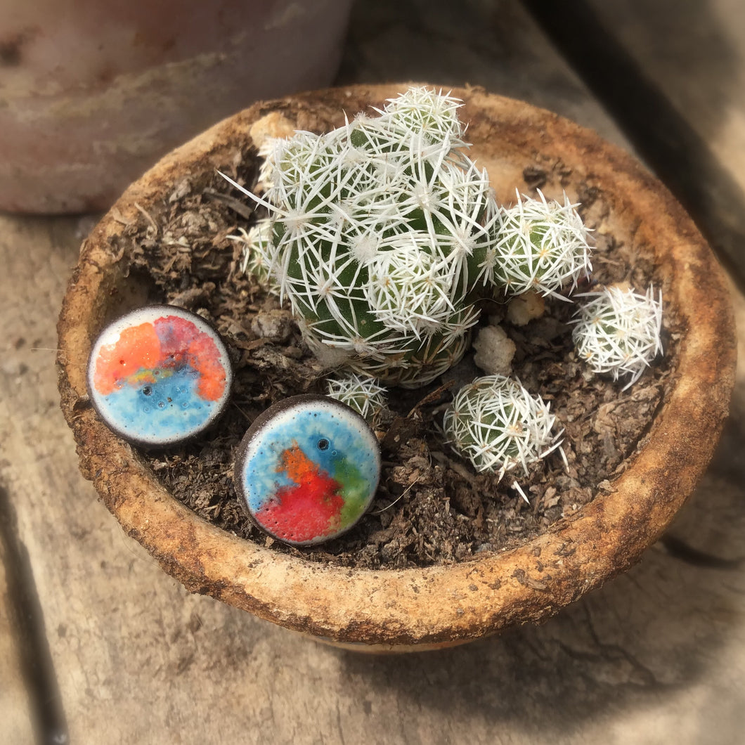 Black Clay Color Splash Ceramic Earrings - Multicolor - Rustic Ceramic Stud Earrings