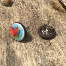 Load image into Gallery viewer, Black Clay Color Splash Ceramic Earrings - Multicolor - Rustic Ceramic Stud Earrings