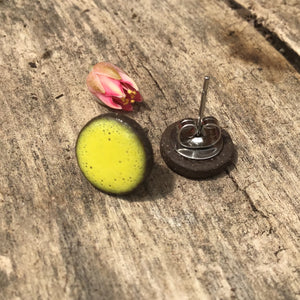 Black Clay Color Splash Ceramic Earrings - Chartreuse - Rustic Ceramic Stud Earrings