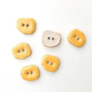 "Yellow Ceramic Buttons - Small Geometric Ceramic Buttons - 7/16"" - 6 Pack"