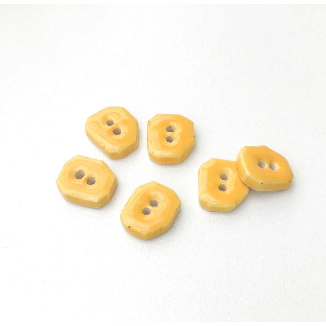 Yellow Ceramic Buttons - Small Geometric Ceramic Buttons - 7/16