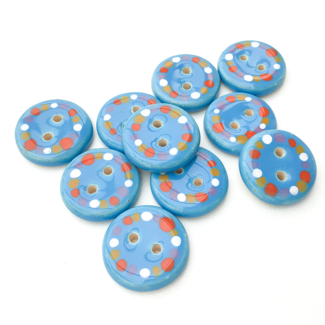 Bright Blue Ceramic Buttons Timmed with Dots of Color - Vivid Clay Buttons - 3/4
