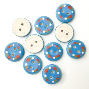 Bright Blue Ceramic Buttons Timmed with Dots of Color - Vivid Clay Buttons - 3/4""