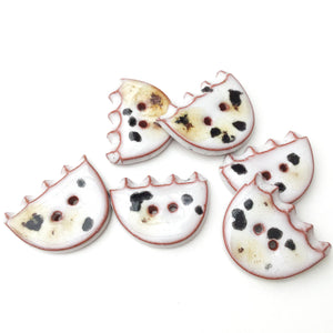 "White + Black + Brown Ceramic Buttons - Ceramic Flower Shaped Buttons - 3/4"" x 1"" - 6 Pack"