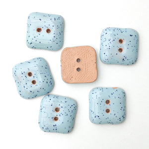 "Speckled Blue Ceramic Buttons - Square Clay Buttons - 3/4"" - 6 Pack"