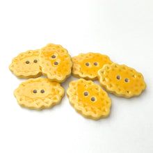 "Load image into Gallery viewer, Scalloped Yellow Ceramic Buttons - Oval Clay Buttons - 3/4"" x 1 1/16"" - 6 Pack"