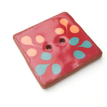 Load image into Gallery viewer, Large Square Decorative Button - Raspberry - Turquoise - Orange - Art Button - 1 3/8""