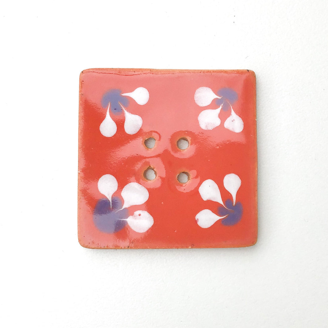 Large Square Decorative Button - Pinkish-Orange - Periwinkle - White - Art Button - 1 7/16