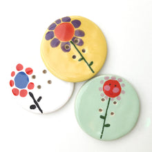Load image into Gallery viewer, Jumbo Ceramic Button with Flowers - Large Playful Ceramic Button - 2""