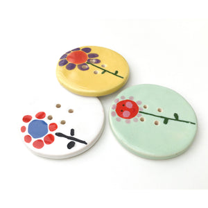 Jumbo Ceramic Button with Flowers - Large Playful Ceramic Button - 2""