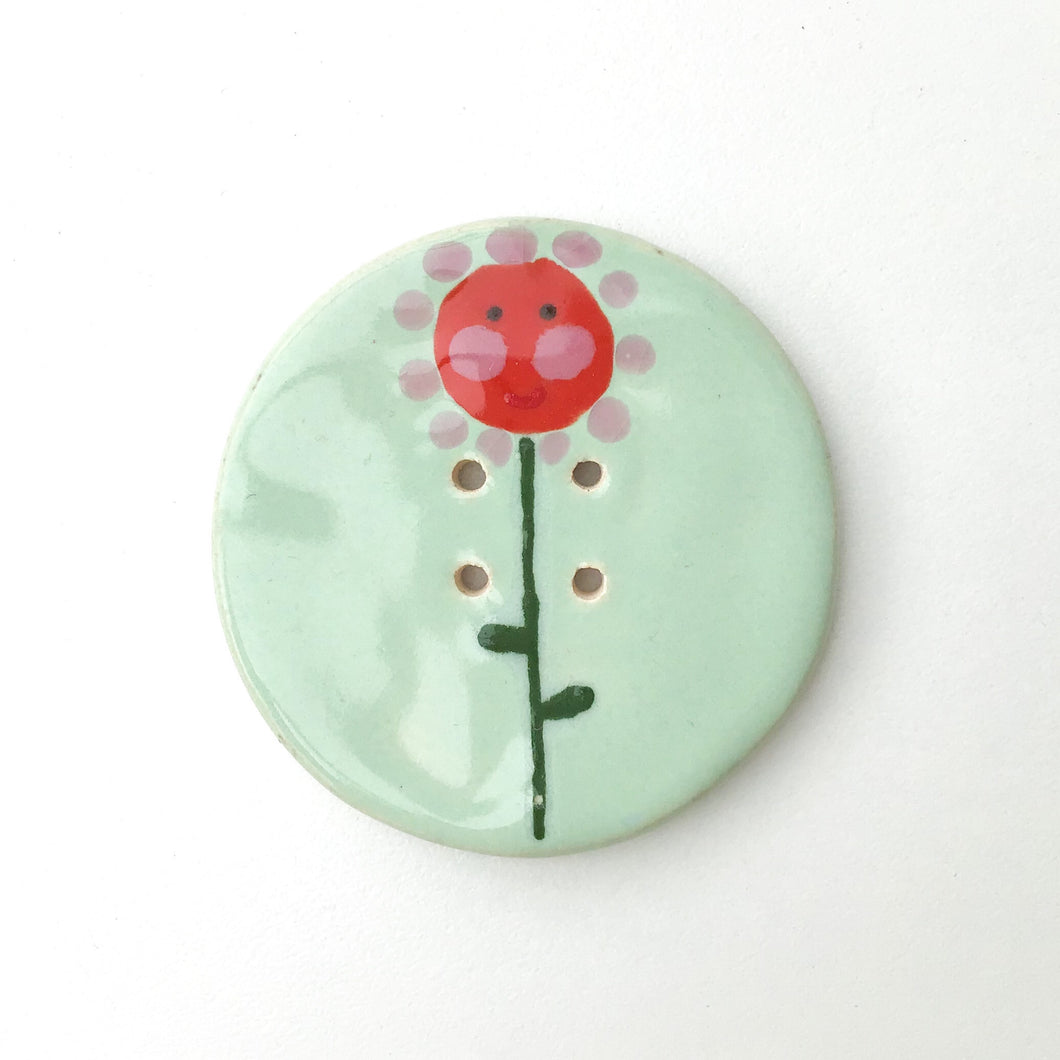 Jumbo Ceramic Button with Flowers - Large Playful Ceramic Button - 2