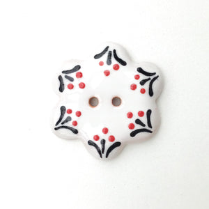 White Flower Button with Delicate Glaze Detail - White - Red - Black Ceramic Button - 1 1/4""