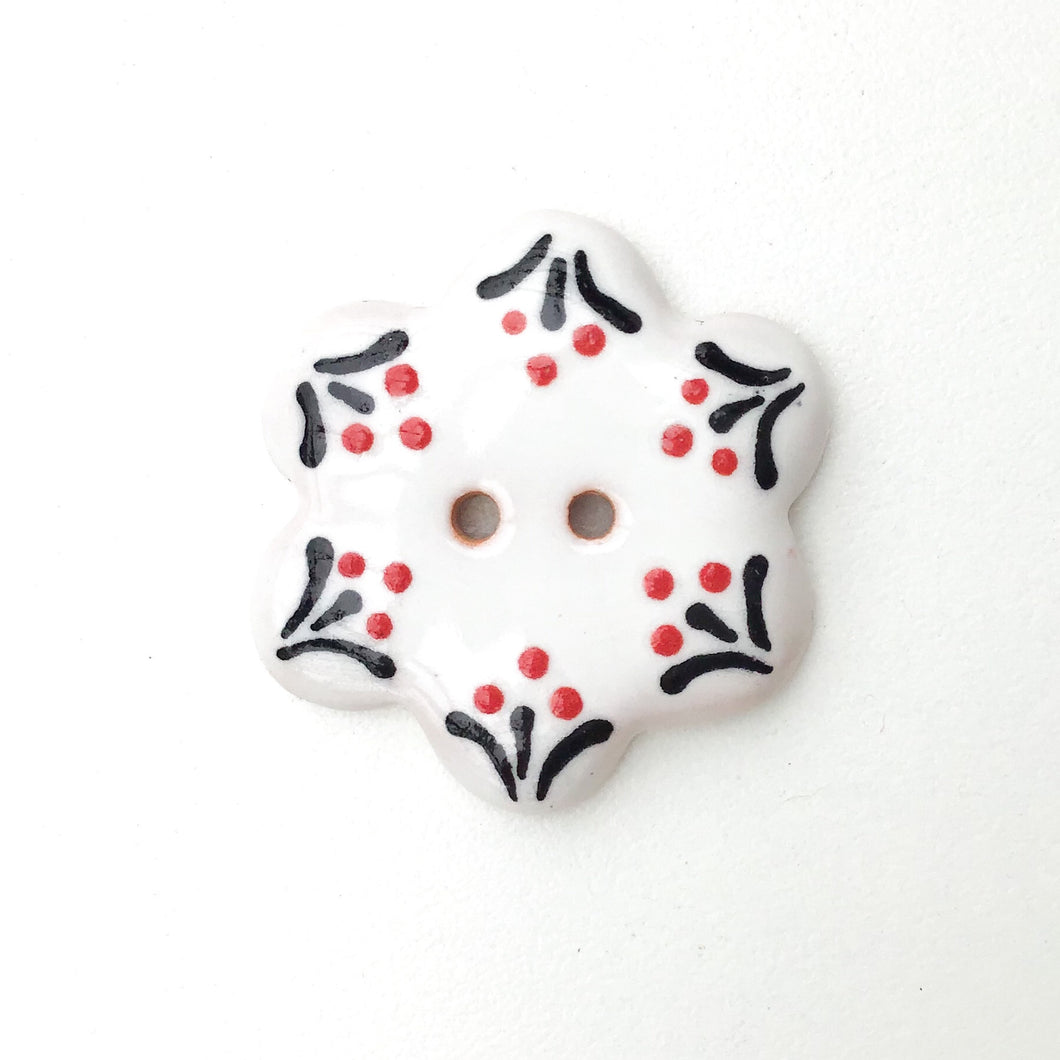 White Flower Button with Delicate Glaze Detail - White - Red - Black Ceramic Button - 1 1/4