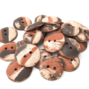 "Raw and Rustic Tri-Colored Ceramic Buttons - Earthy Clay Buttons - 3/4"" to 7/8"""