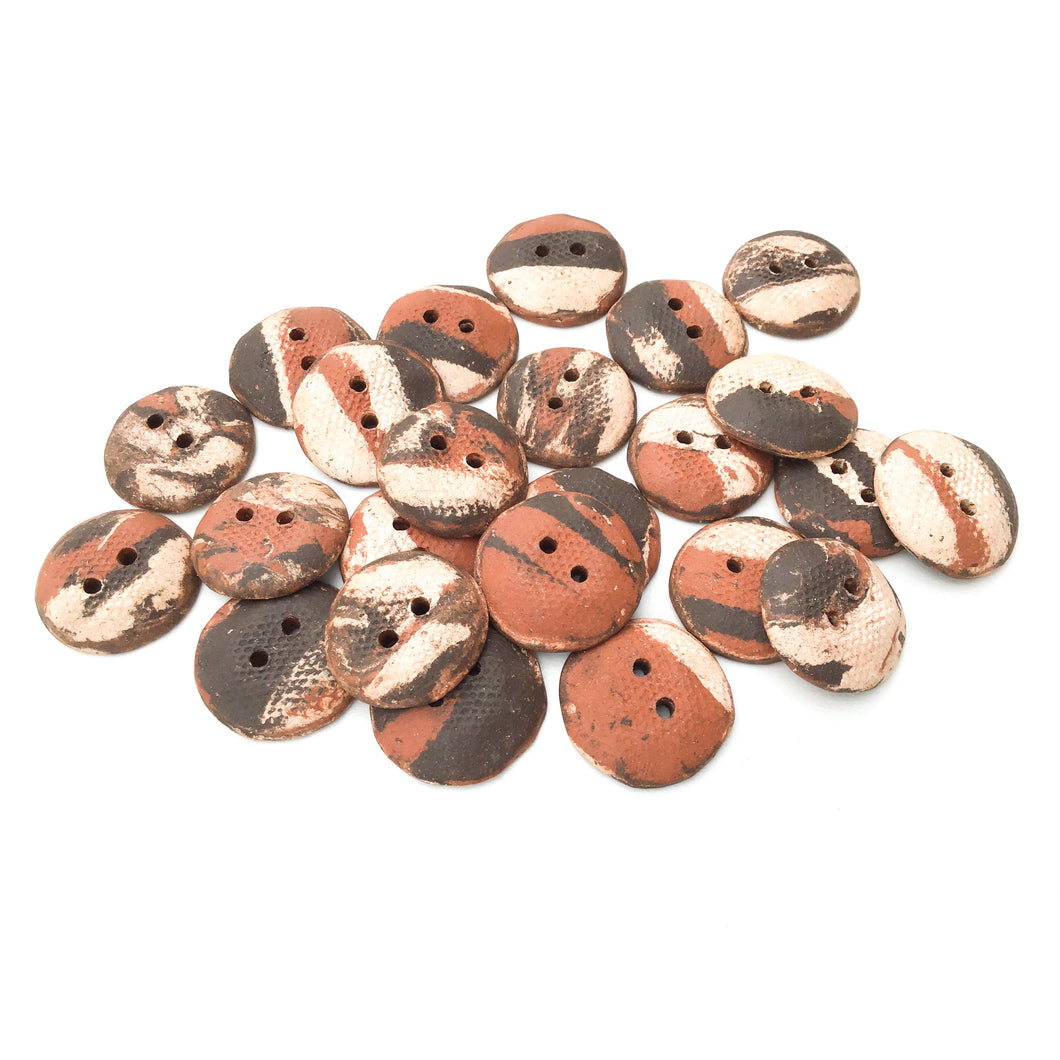 Raw and Rustic Tri-Colored Ceramic Buttons - Earthy Clay Buttons - 3/4