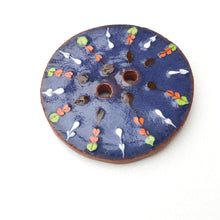Load image into Gallery viewer, Decorative Blue Ceramic Button - Orange - Green - White Clay Button - 1 1/16""