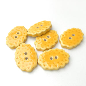 "Scalloped Yellow Ceramic Buttons - Oval Clay Buttons - 3/4"" x 1 1/16"" - 6 Pack"