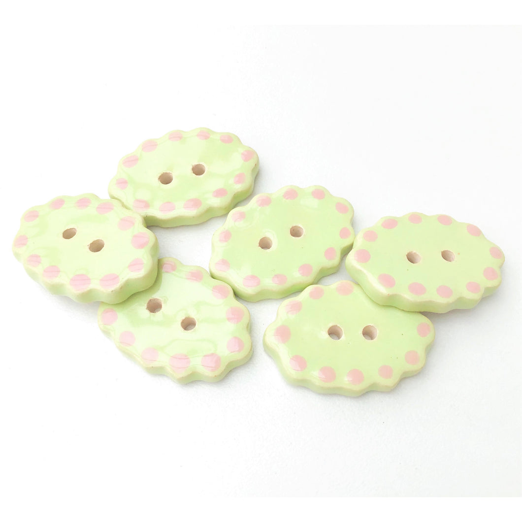 Honeydew Green Ceramic Buttons - Oval Clay Buttons - 3/4