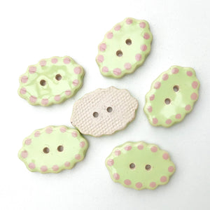 "Honeydew Green Ceramic Buttons - Oval Clay Buttons - 3/4"" x 1 1/16"" - 6 Pack"