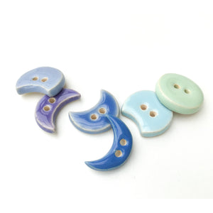 "Moon Phase Ceramic Buttons - Clay Buttons in Shades of Purples and Blues - 3/4"" - 6 Pack"
