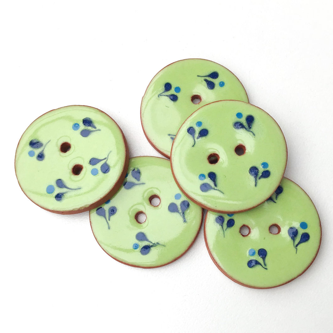 Decorative Ceramic Button with Small Floral Print - Green - Blue Clay Buttons - 1 1/16
