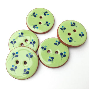 Decorative Ceramic Button with Small Floral Print - Green - Blue Clay Buttons - 1 1/16""