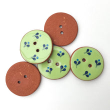 Load image into Gallery viewer, Decorative Ceramic Button with Small Floral Print - Green - Blue Clay Buttons - 1 1/16""