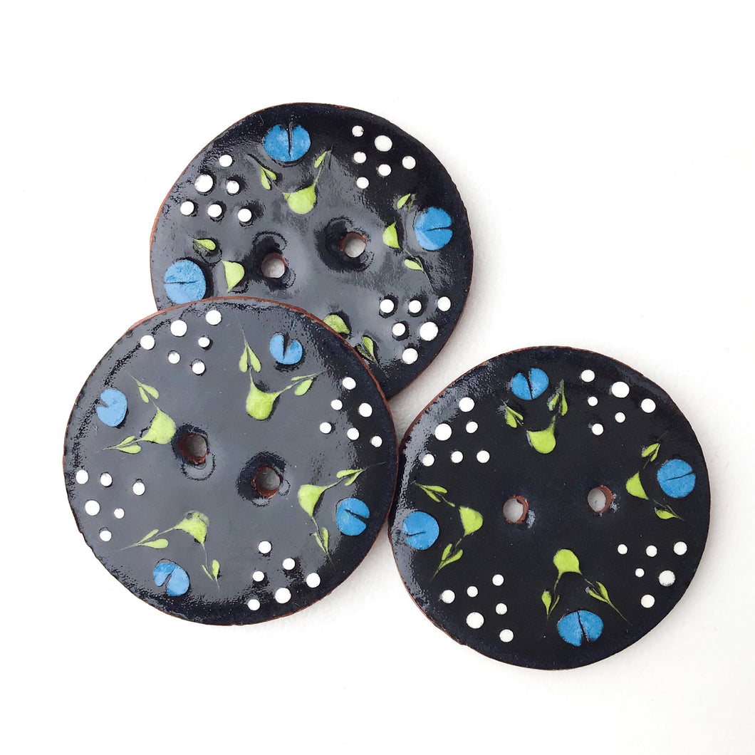 Black Ceramic Button with Blue Flowers - Decorative Clay Button - 1 1/16