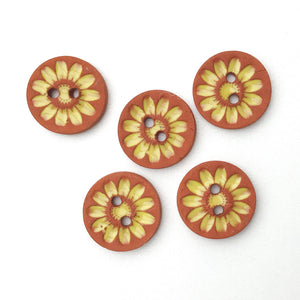 "Ceramic Mum Flower Buttons - Small Ceramic Flower Buttons - Yellow - 11/16"" - 6 Pack"