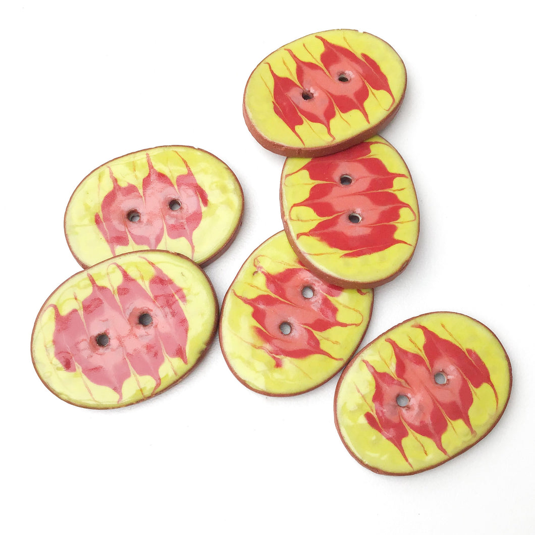 Decorative Ceramic Button with Flame Pattern - Yellow - Red - Coral Clay Buttons - 1