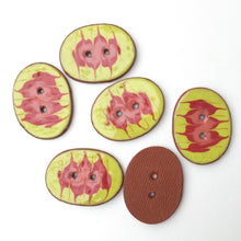 "Load image into Gallery viewer, Decorative Ceramic Button with Flame Pattern - Yellow - Red - Coral Clay Buttons - 1"" x 1 1/4"""