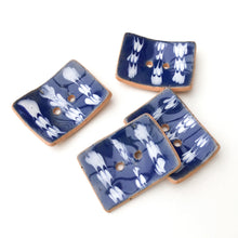 "Load image into Gallery viewer, Decorative Blue Ceramic Button - ""Shibori"" Buttons - White + Blue Clay Button - 13/6"" x 1 1/16"" - 4 Pack"