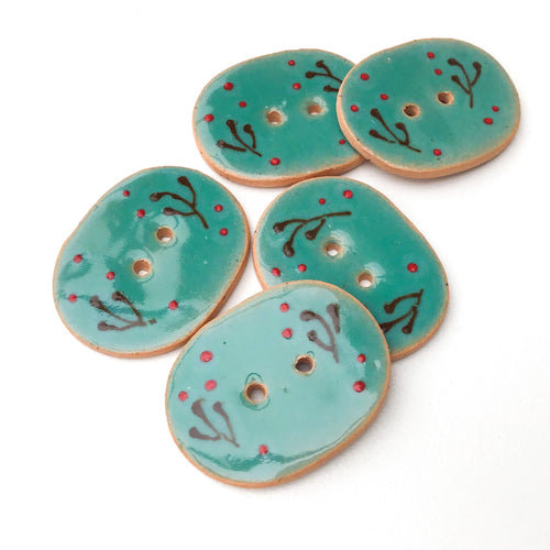 Decorative Ceramic Button with Floral Print  -Teal - Green-Blue Oval Clay Button - 1