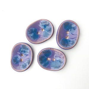 "Decorative Ceramic Button with Shimmery Color Drips - Purple - Blue - Oval Clay Button - 1"" x 1 1/4"""
