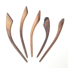 Load image into Gallery viewer, Live Edge Black Walnut Wood Shawl & Sweater Pins - Wooden Hair Pins