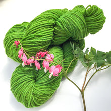 Load image into Gallery viewer, Hand-dyed Moorit Merino Yarn - DK - Light Worsted Weight - Tomato Leaf Green