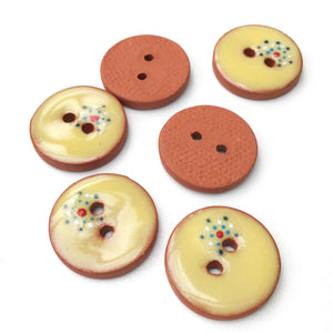 "Soft Yellow Ceramic Buttons - Decorative Clay Buttons with a Sweet Splash of Color - 3/4"" - 6 Pack (ws-199)"