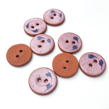 "Load image into Gallery viewer, Speckled Pink Ceramic Buttons - Decorative Clay Buttons with a Sweet Floral Detail- 3/4"" - 8 Pack"