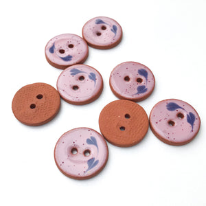 "Speckled Pink Ceramic Buttons - Decorative Clay Buttons with a Sweet Floral Detail- 3/4"" - 8 Pack"