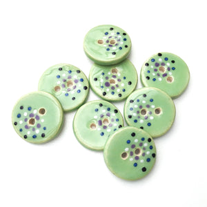 "Mint Green Ceramic Buttons - Decorative Clay Buttons with a Sweet Splash of Color - 3/4"" - 8 Pack"