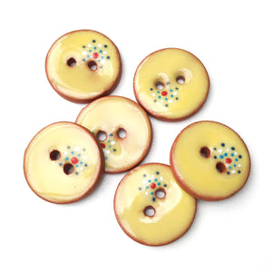 "Soft Yellow Ceramic Buttons - Decorative Clay Buttons with a Sweet Splash of Color - 3/4"" - 6 Pack"