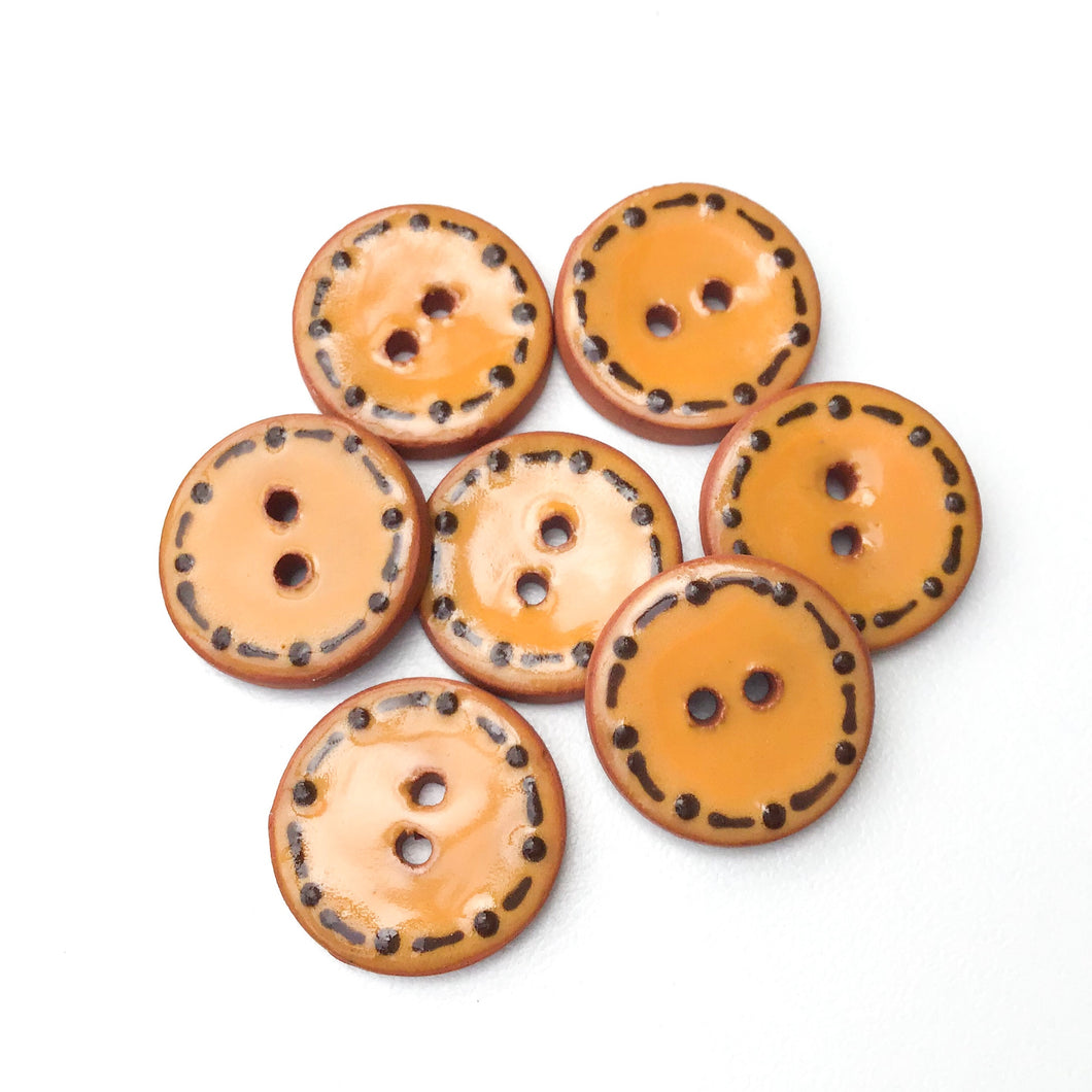 Orange Ceramic Buttons - Decorative Clay Buttons with a Fun Border - 3/4