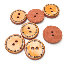 "Load image into Gallery viewer, Orange Ceramic Buttons - Decorative Clay Buttons with a Fun Border - 3/4"" - 7 Pack"
