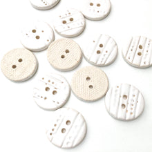 "Load image into Gallery viewer, Textured White Ceramic Buttons - Decorative Clay Buttons with a Sweet Lace-like Detail - 3/4"" - 8 Pack"