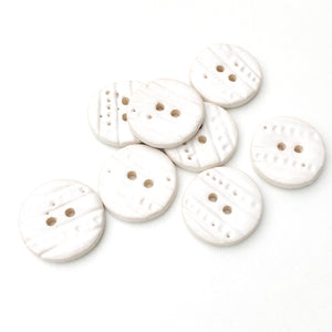 "Textured White Ceramic Buttons - Decorative Clay Buttons with a Sweet Lace-like Detail - 3/4"" - 8 Pack"