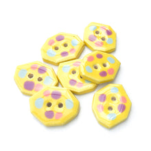 "Load image into Gallery viewer, Geometric Colorful Dotted Buttons - Unique Clay Buttons - Bright Yellow with Pastel Dots - 5/8"" x 7/8""- 7 Pack"