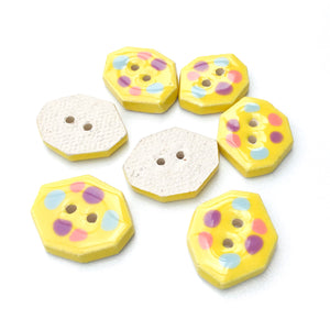 "Geometric Colorful Dotted Buttons - Unique Clay Buttons - Bright Yellow with Pastel Dots - 5/8"" x 7/8""- 7 Pack"