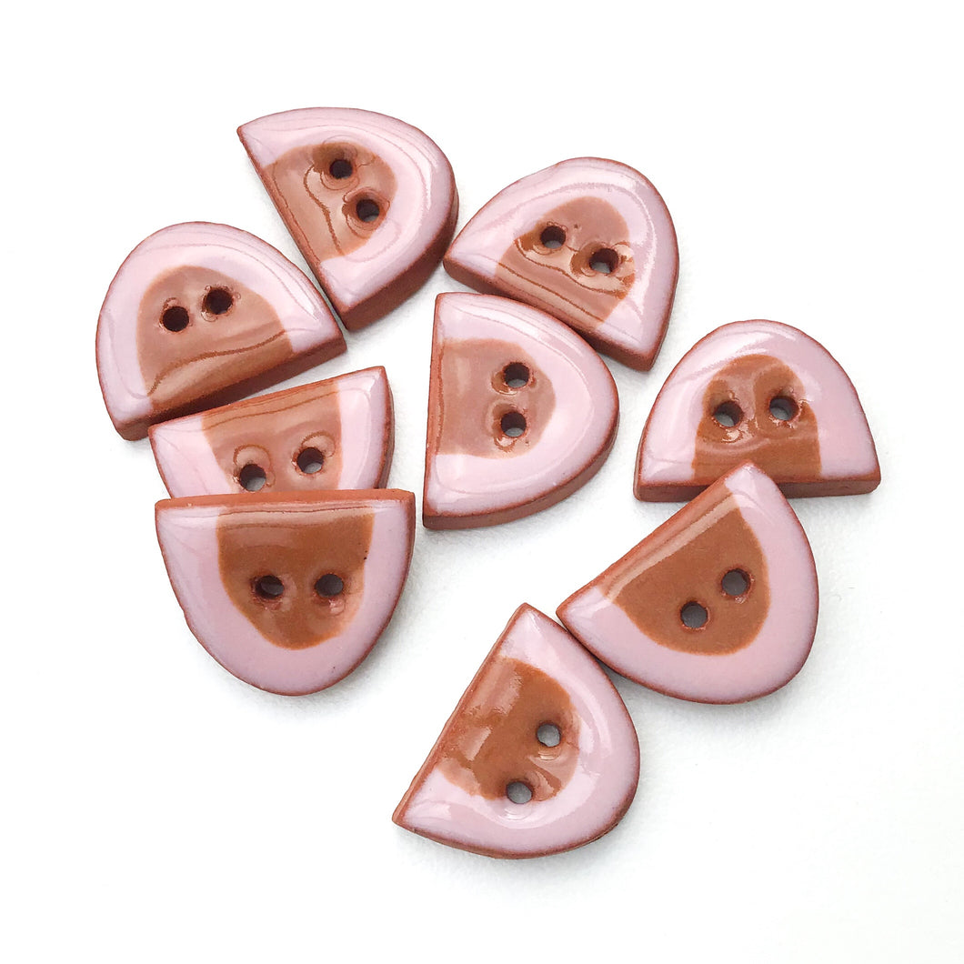 Pink and Brown Half Ovals on Red Clay - Small Geometric Ceramic Buttons - 1/2