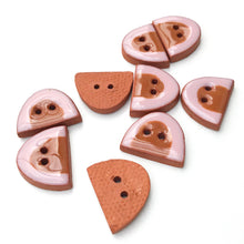 "Load image into Gallery viewer, Pink and Brown Half Ovals on Red Clay - Small Geometric Ceramic Buttons - 1/2"" - 9 Pack"